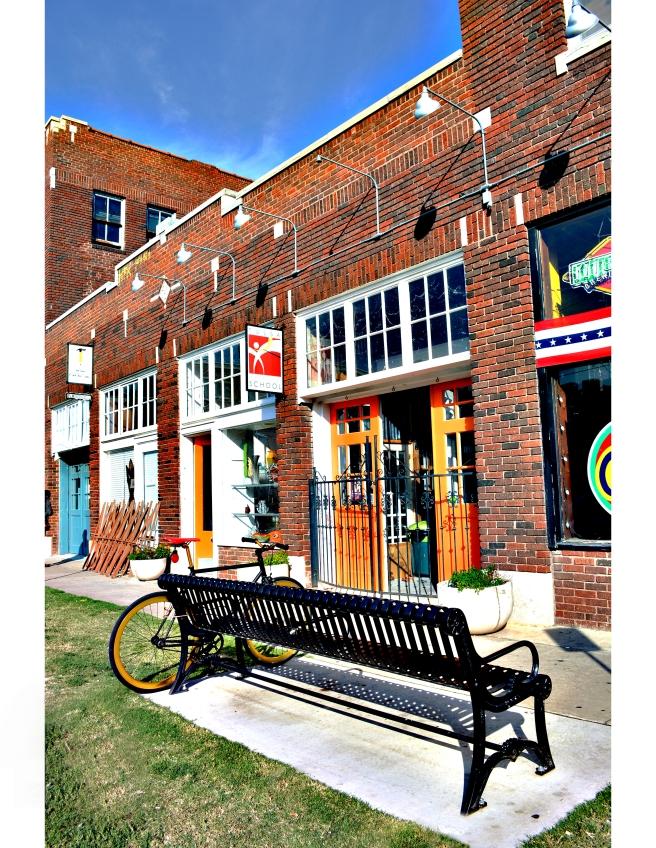 Storefronts near Guthrie Green, Tulsa. Photo by: Roseanne McKee